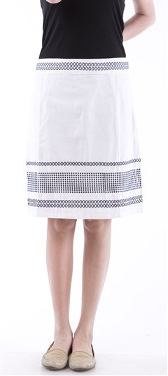 650042, skirt, Cotton, Machine Embroidery, White and Off White Color Family