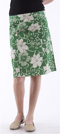 650043 Green  color family skirt in Cotton fabric with Printed work .