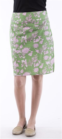 650045, skirt, Cotton, Printed, Green Color Family