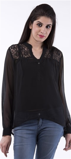 650057, Tops & Shirts, Faux Georgette, Thread, Black and Grey Color Family