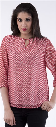 650060 Red and Maroon  color family Tops & Shirts in Cotton fabric with Printed work .