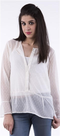650062 White and Off White  color family Tops & Shirts in Faux Georgette fabric with Thread work .