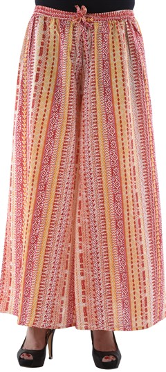650113 Pink and Majenta  color family Palazzo in Cotton fabric with Printed work .