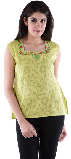 650135 Green  color family Tops & Shirts in Cotton fabric with Machine Embroidery work .