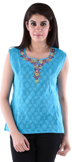 650136 Blue  color family Tops & Shirts in Cotton fabric with Machine Embroidery work .