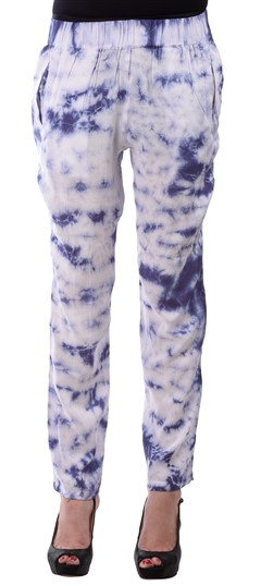 650141 White and Off White  color family Jeggings in Rayon fabric with Tye n Dye work .