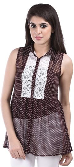 650142, Tops & Shirts, Faux Georgette, Lace, Printed, Red and Maroon Color Family