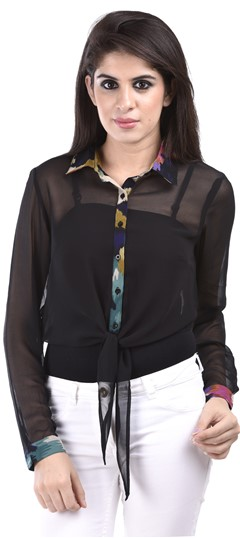 650144 Black and Grey  color family Tops & Shirts in Faux Georgette fabric with Self work .