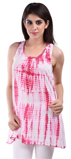 650146 Pink and Majenta,White and Off White  color family Tops & Shirts in Rayon fabric with Lace,Tye n Dye work .