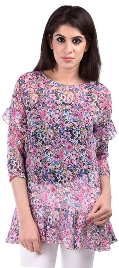 650148, Tops & Shirts, Faux Georgette, Printed, Floral, Multicolor Color Family