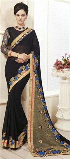 710502 Black and Grey  color family Embroidered Sarees,Party Wear Sarees in Faux Georgette fabric with Lace,Machine Embroidery,Patch,Thread work   with matching unstitched blouse.