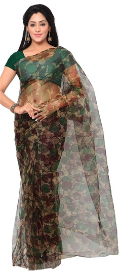 714886 Multicolor  color family Printed Sarees in Net fabric with Printed work   with matching unstitched blouse.