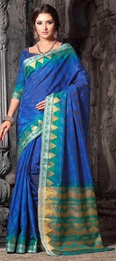 717594 Blue, Green  color family Silk Sarees in Silk cotton fabric with Thread work   with matching unstitched blouse.