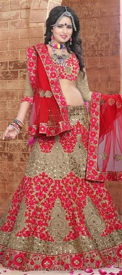 726654 Beige and Brown  color family Brides maid Lehenga,Mehendi & Sangeet Lehenga in Brocade fabric with Border,Machine Embroidery,Mirror,Resham,Stone,Zari work .
