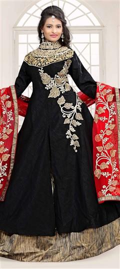 734527 Black and Grey  color family Long Lehenga Choli in Bhagalpuri, Silk fabric with Machine Embroidery, Resham, Thread, Zari work .