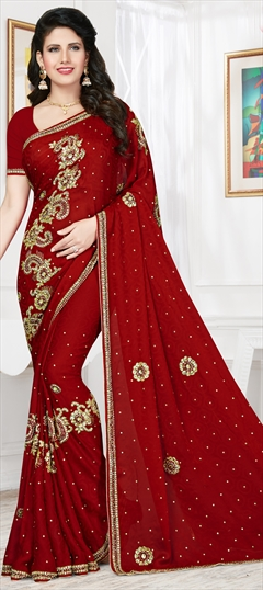 754264 Red and Maroon  color family Party Wear Sarees in Chiffon, Jacquard fabric with Bugle Beads, Stone work   with matching unstitched blouse.