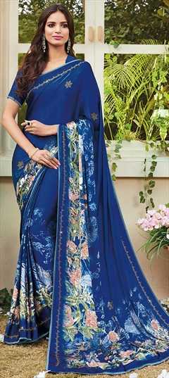 772245 Blue  color family Silk Sarees in Crepe Silk fabric with Floral, Printed, Stone work   with matching unstitched blouse.