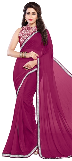 776801 Pink and Majenta  color family Party Wear Sarees in Faux Chiffon fabric with Lace work   with matching unstitched blouse.