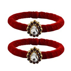 808048 Red and Maroon  color family Bangles in Brass Metal with CZ Diamond stone  and Enamel work