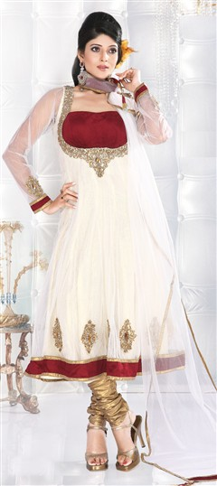 86443 White and Off White  color family Anarkali Suits in Net,Silk fabric with Border,Cut Dana,Kasab,Patch,Sequence,Stone work .