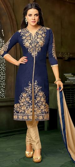 900057 Blue  color family Bollywood Salwar Kameez in Art Silk fabric with Machine Embroidery, Stone, Thread, Zari work .