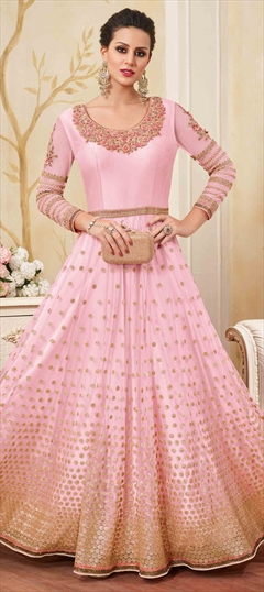902304 Pink and Majenta  color family Anarkali Suits in Net fabric with Lace, Machine Embroidery, Stone, Thread, Zari work .
