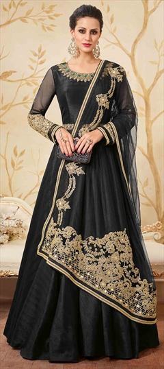902307 Black and Grey  color family Anarkali Suits in Art Silk fabric with Lace, Machine Embroidery, Stone, Thread, Zari work .