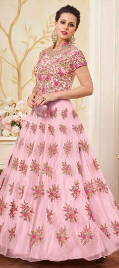 902309 Pink and Majenta  color family Anarkali Suits in Net fabric with Lace, Machine Embroidery, Stone, Thread, Zari work .