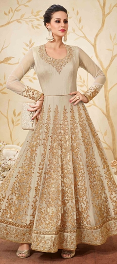 902311 Beige and Brown  color family Anarkali Suits in Net fabric with Lace,Machine Embroidery,Stone,Thread,Zari work .