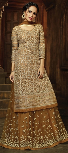 902484 Beige and Brown  color family Party Wear Salwar Kameez in Net fabric with Bugle Beads,Lace,Machine Embroidery,Resham,Stone,Thread,Zari work .