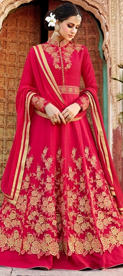 902576 Pink and Majenta  color family Anarkali Suits in Art Silk, Net fabric with Machine Embroidery, Resham, Stone, Thread work .