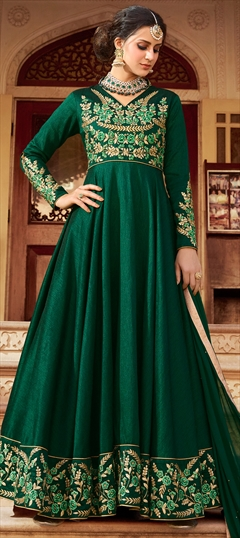 902577 Green  color family Anarkali Suits in Art Silk fabric with Machine Embroidery, Resham, Stone, Thread, Zari work .