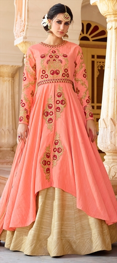 902578 Pink and Majenta  color family Party Wear Salwar Kameez in Art Silk fabric with Machine Embroidery, Resham, Stone, Thread, Zari work .
