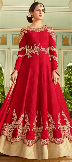 902580 Red and Maroon  color family Anarkali Suits in Art Silk fabric with Machine Embroidery,Resham,Stone,Thread,Zari work .