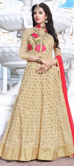 902704 Beige and Brown  color family Anarkali Suits in Net fabric with Machine Embroidery, Resham, Thread, Zari work .