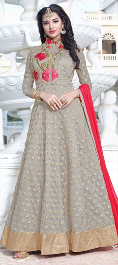 902705 Black and Grey  color family Anarkali Suits in Net fabric with Machine Embroidery, Resham, Thread, Zari work .