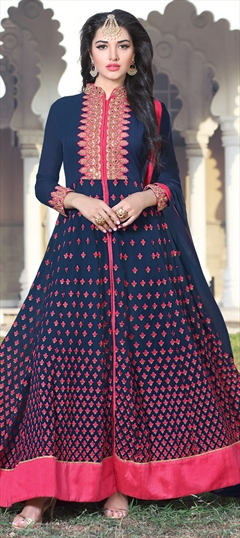 902706 Blue  color family Anarkali Suits in Faux Georgette fabric with Machine Embroidery, Resham, Thread, Zari work .