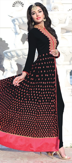 902707 Black and Grey  color family Party Wear Salwar Kameez in Faux Georgette fabric with Machine Embroidery, Resham, Thread, Zari work .