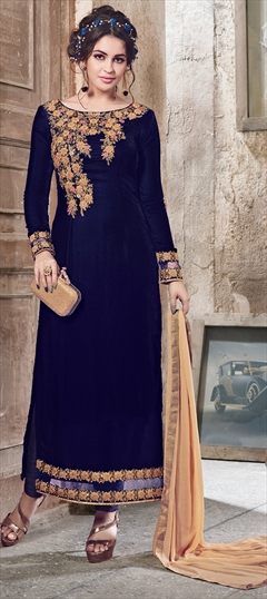 903113 Blue  color family Party Wear Salwar Kameez in Velvet fabric with Machine Embroidery,Thread,Zari work .