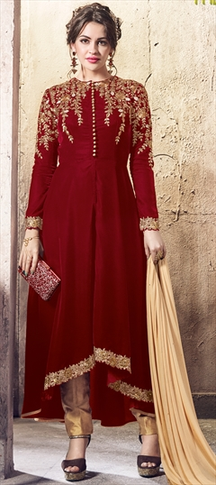 903115 Red and Maroon  color family Party Wear Salwar Kameez in Velvet fabric with Machine Embroidery,Thread,Zari work .