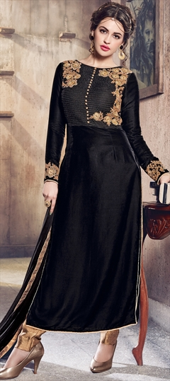 903116 Black and Grey  color family Party Wear Salwar Kameez in Velvet fabric with Machine Embroidery,Thread,Zari work .