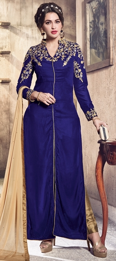 903117 Blue  color family Party Wear Salwar Kameez in Velvet fabric with Machine Embroidery,Thread,Zari work .