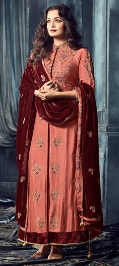 903359 Pink and Majenta  color family Bollywood Salwar Kameez in Viscose fabric with Machine Embroidery, Thread, Zari work .