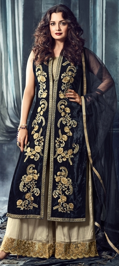 903360 Blue  color family Bollywood Salwar Kameez in Velvet fabric with Machine Embroidery, Thread, Zari work .