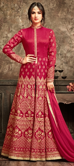 903456 Red and Maroon  color family Party Wear Salwar Kameez in Banarasi Silk fabric with Machine Embroidery, Sequence, Stone, Thread, Zari work .