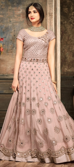 903457 Pink and Majenta  color family Anarkali Suits in Net fabric with Cut Dana, Machine Embroidery, Mirror, Resham, Stone, Thread work .