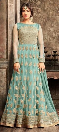 903458 Blue  color family Anarkali Suits in Net fabric with Lace, Machine Embroidery, Mirror, Stone, Thread, Zari work .