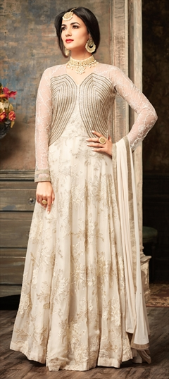 903459 White and Off White  color family Anarkali Suits in Georgette fabric with Machine Embroidery, Stone, Thread work .