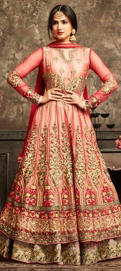 903460 Red and Maroon  color family Anarkali Suits in Net fabric with Machine Embroidery, Resham, Stone, Thread, Zari work .