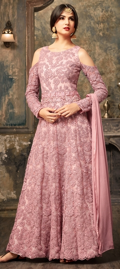 903461 Pink and Majenta  color family Anarkali Suits in Net fabric with Machine Embroidery, Resham, Thread work .
